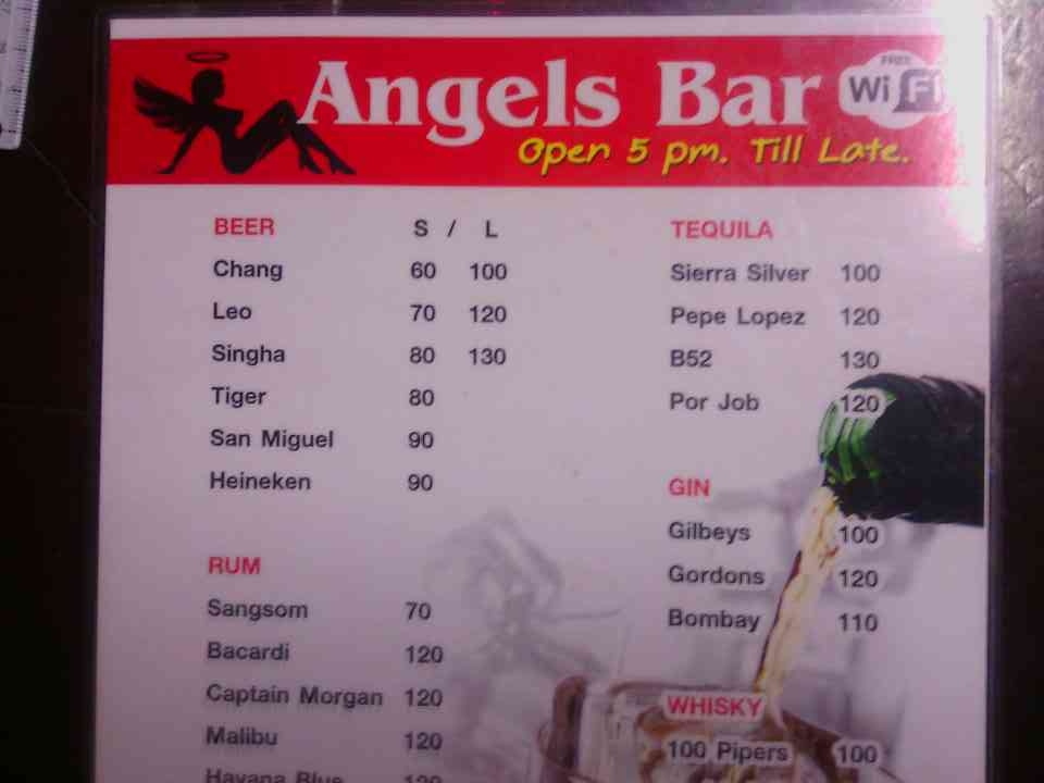 angels bar menu
